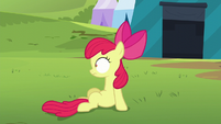 Apple Bloom sitting up and looking at Orchard Blossom S5E17