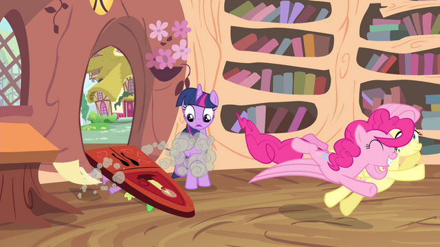 File:Pinkie Pie jumps towards Fluttershy S4E11.png