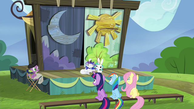 File:Twilight, Rainbow and Fluttershy watching the play S4E21.png