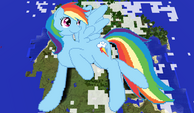 Rainbow Dash above a map pixel art
