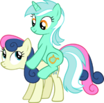 Lyra riding on Bon Bon