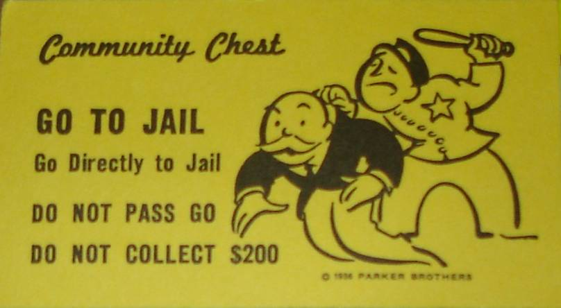 A Monopoly 'Go to Jail' Card