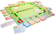 German Monopoly board in the middle of a game