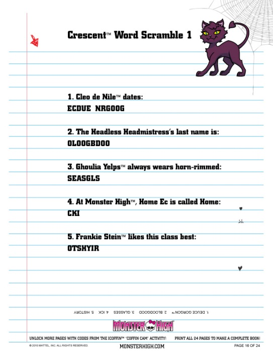 Printables Free Monster High Printable Activities make a monster high album activity book wiki 16