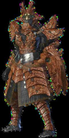 File:MHO-Sandstone Basarios Armor (Gunner) (Female) Render 001.png