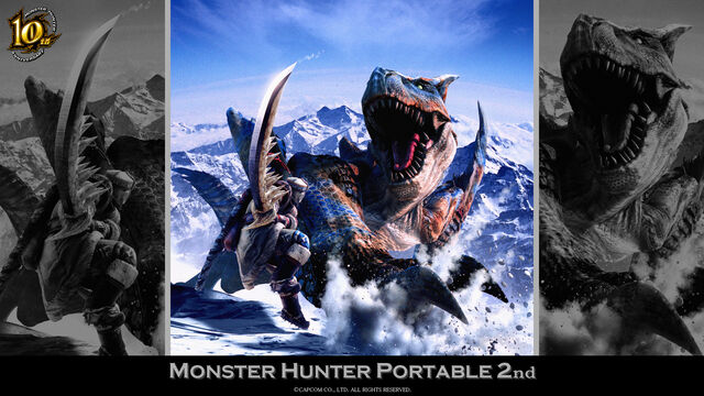 File:MH 10th Anniversary-Monster Hunter Freedom 2 Wallpaper 001.jpg
