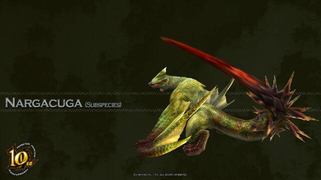 File:MH 10th Anniversary-Green Nargacuga Wallpaper 001.jpg