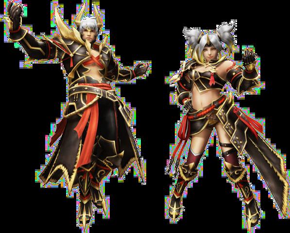 File:FrontierGen-Oniden G Armor (Blademaster) and Warabeden G Armor (Gunner) Render 2.png