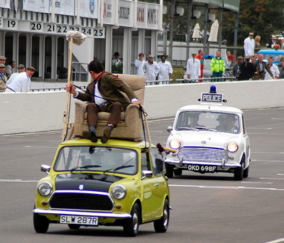 Image Mr Bean Mini In A Police Chase Goodwood Revival Mr Bean Wiki Fandom