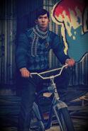Young Barzini on bike
