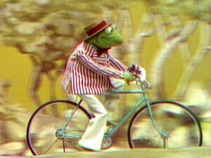 Kermit bicycle a courtin