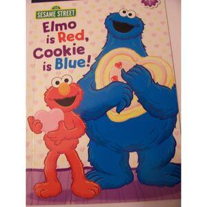 Elmo is red cookie is blue