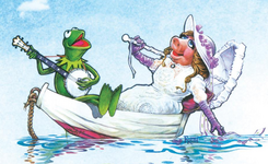 Kermit and piggy in a boat - frith