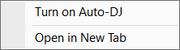 Auto DJ context menu