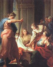 220px-Batoni, Pompeo ~ Achilles at the Court of Lycomedes, 1745, oil on canvas, Galleria degli Uffizi, Florence