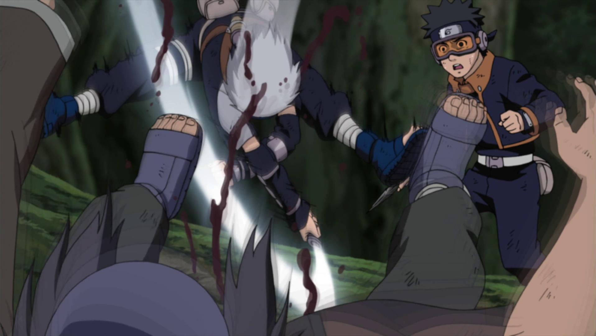 Naruto Kakashi Dies Kakashi saving Obito from