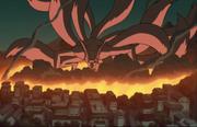 Konoha's destruction by Kyuubi