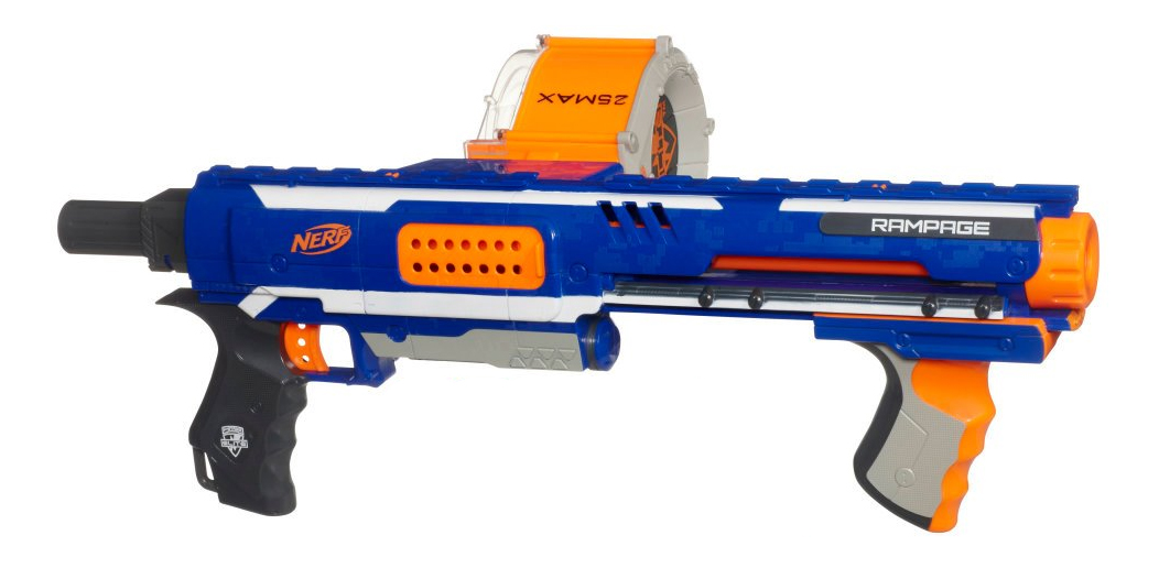 A bit loud but considered one of the best rapid fire nerf guns on the  market.