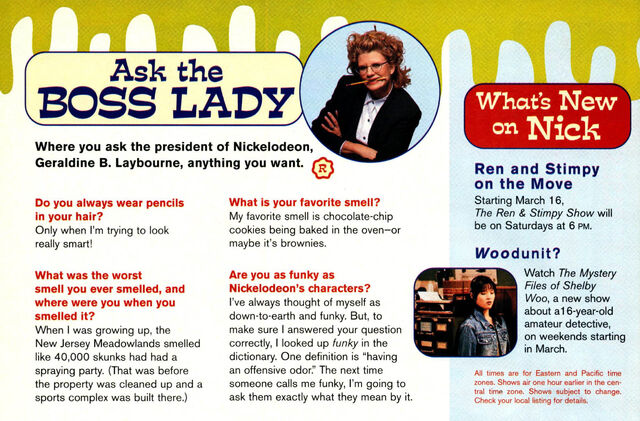 File:Nickelodeon Magazine March 1996 Ask the Boss Lady ooze news Geraldine Laybourne interview.jpg