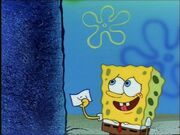 Spongebob Holding 1 Piece Of Paper