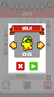 Leap Day Character selection screen Yolk
