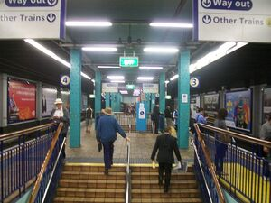 Wynyard railway station stairs at top of p 3 & 4