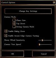 Gamemenu control