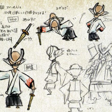 Concept art showing both Onigiri-Sensei's forms.