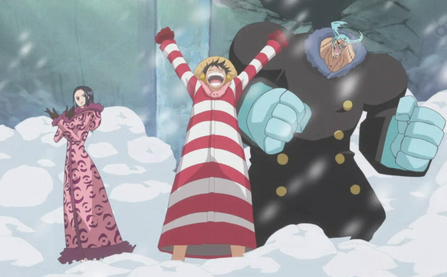 File:Luffy, Robin, and Franky Prepare to Invade Caesar's Lab.png