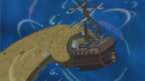 Surume Destroys Caribou Pirates' Ship.png