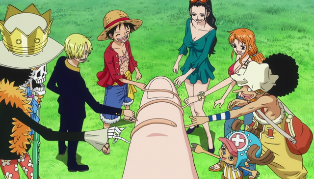 File:Straw Hat Crew Pinky Swears with Shirahoshi.png