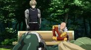 Saitama giving advice to Genos