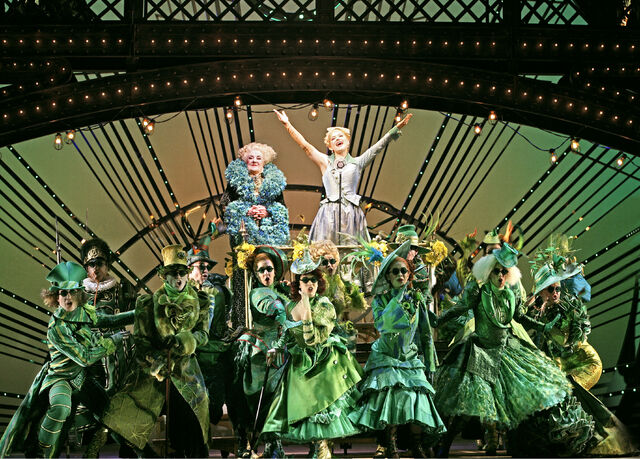 File:Madame Morrible Maggie Kirkpatrick Glinda Lucy Durack and ensemble Thank Goodness.jpg