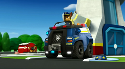 Chase in his police truck
