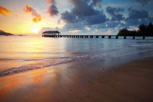 Beautiful Hanalei Pier at sunrise