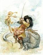 Peter-Pan-and-Captain-Hook-fight-in-this-creative-childrens-book-illustration-by-Omar-Rayyan-250x318