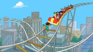Agent P drops onto the coaster