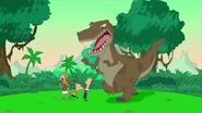 Flashback of P&F chased by dinosaur