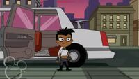 Baljeet steps out of the limo