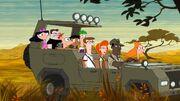 Nine happy campers on the savannah