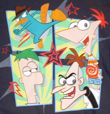 File:Agent P, Phineas, Ferb and Heinz four-panel action t-shirt.jpg