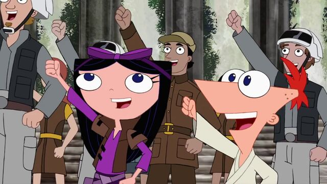 File:Isabella and Phineas cheer Rebel, Let's Go.jpg