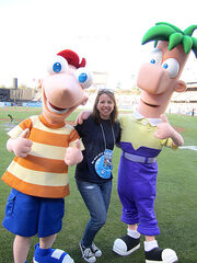 Jill Sanford with Phineas and Ferb