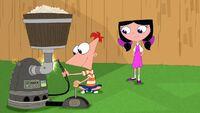 Preschooler Phineas and Isabella in backyard