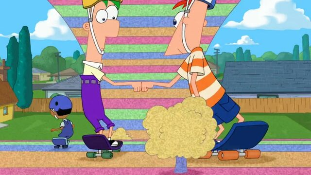 File:Phineas and Ferb fist bump in Foamtown.jpg