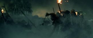 Pirates arriving at Port Royal