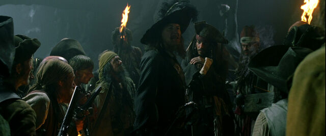 File:Pirates, captain Barbossa and Jack Sparrow in the cave.jpg