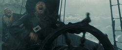 Barbossa at the wheel