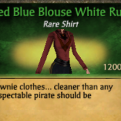 Red Blue Blouse White Ruff