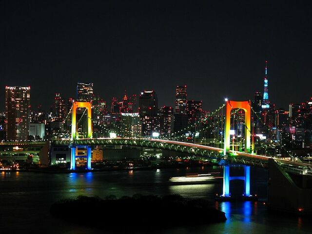 File:800px-Rainbow colored Rainbow Bridge at night.jpg